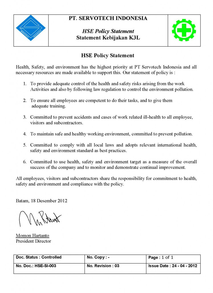 2.1A HSE_SI_003_Policy Statement Rev.3 2013